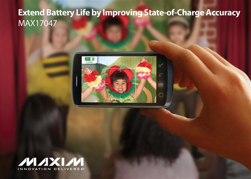 Maxim's Compact Fuel-Gauge Increases Li+ Battery Runtime, Provides Most Accurate State of Charge and Time-to-Empty in Portable Applications