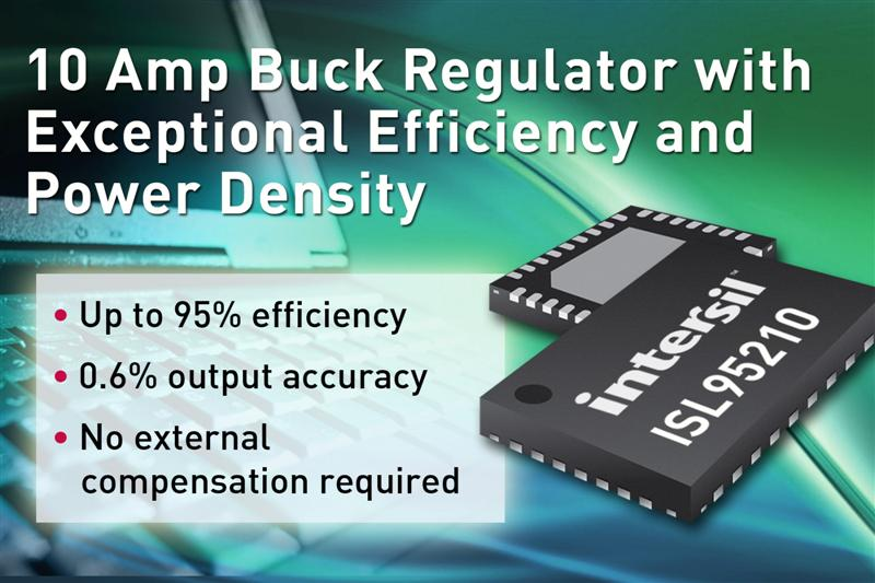 Intersil's New 10 Amp Buck Regulator Delivers Exceptional Efficiency and Power Density