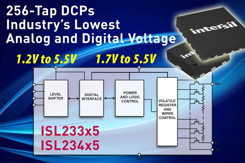 Intersils 256-Tap DCPs Feature Industrys Lowest Supply Voltages and Power Consumption