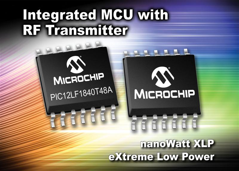 Microchip integrates sub-GHz wireless transmitter with 8-bit PIC® MCU to simplify secure remote keyless entry designs