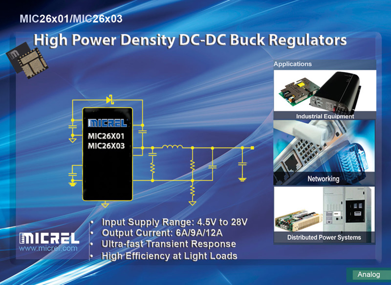 New Micrel DC-DC Converter Family Enables  Point-of-Load Designs with High Power Density and High Efficiency