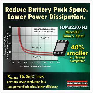Fairchild Semiconductor's Solution for Li-Ion Battery Pack Protection Designs Meets Space and Efficiency Challenges