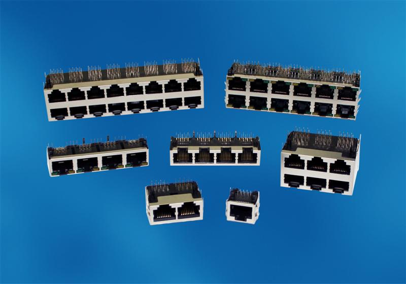FCI Introduces Multi-port and Single-port RJ45 Modular Jack Connectors