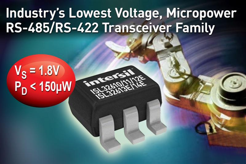 Intersil Introduces Industry's Lowest Voltage, Micropower RS-485/RS-422 Transceiver Family