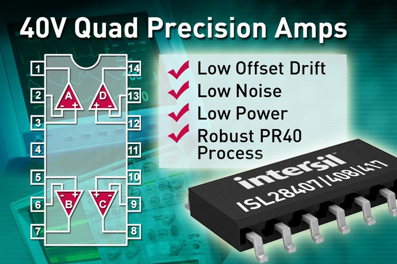 Intersil's 40V Quad Precision Amplifiers Feature Lowest Noise, Low Power Consumption