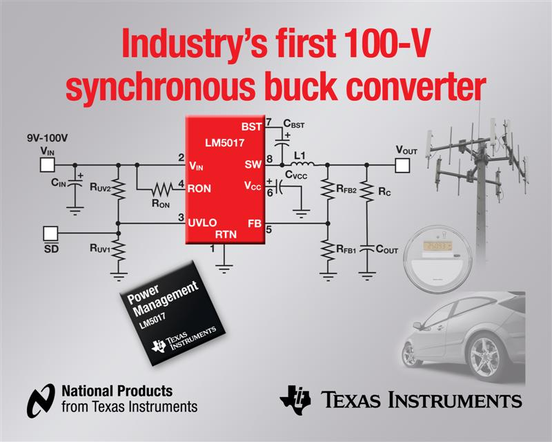 TI introduces industry's first 100-V synchronous buck regulator with integrated MOSFETs
