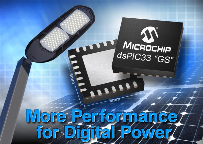 Microchip announces 25% performance increase for dsPIC® DSCs for digital-power applications