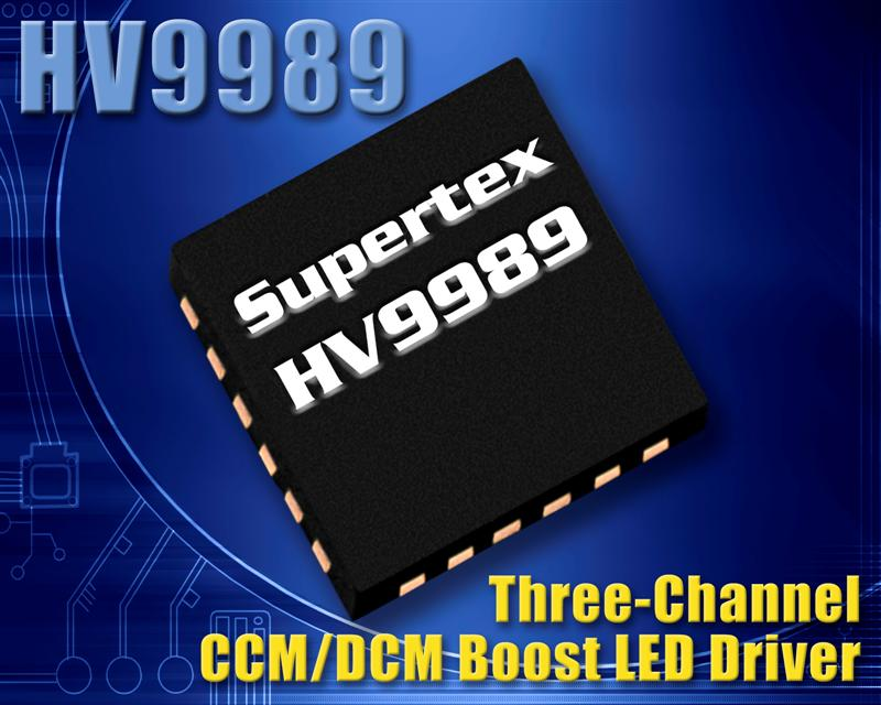 Three Channel LED Driver from Supertex Delivers Sub-Microsecond PWM Dimming for LCD Backlighting Applications