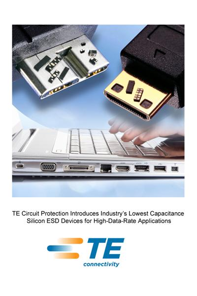 TE Circuit Protection Introduces Industry's Lowest Capacitance Silicon ESD Devices for High-Data-Rate Applications