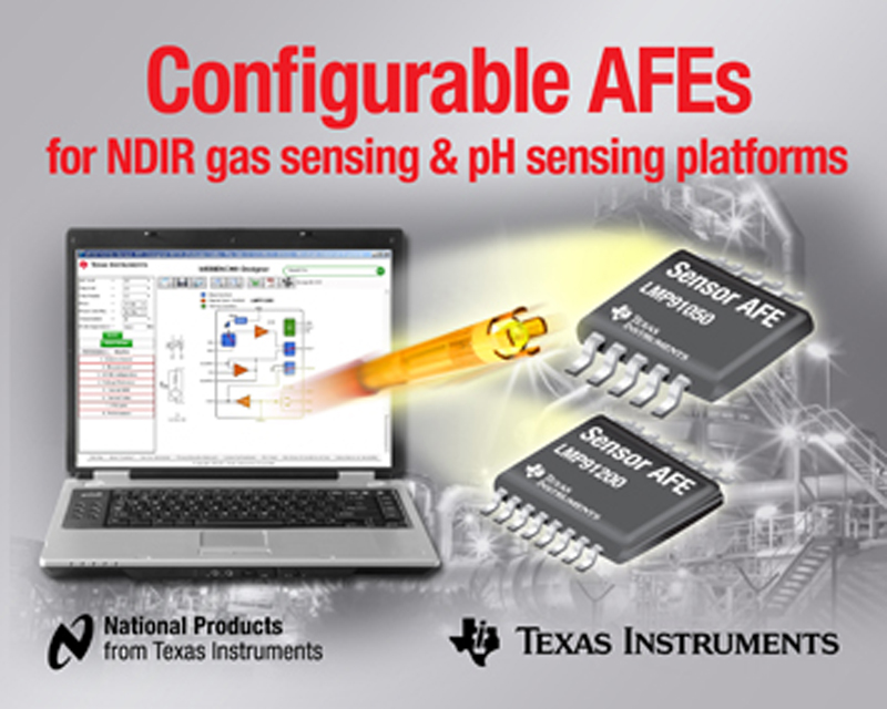 TI introduces world's first configurable NDIR gas sensing and pH sensing AFEs