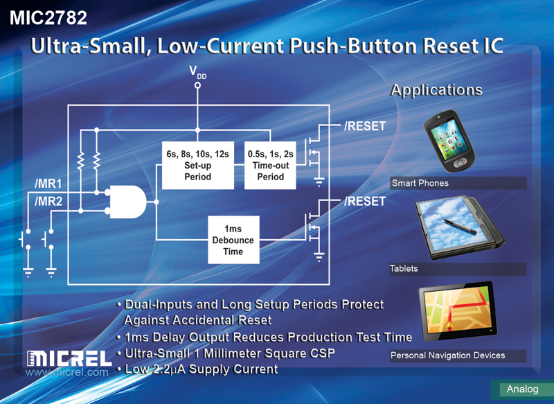 Micrel Creates 1-Square Millimeter Dual-Input, Push-Button-Reset IC With Extended Setup Delay Times For Generating Hard Resets