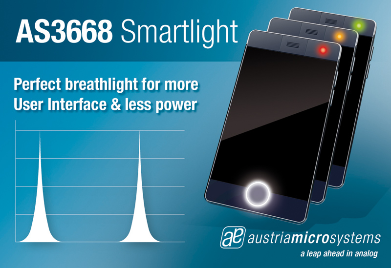 austriamicrosystems' new smart LED driver produces sophisticated light effects while dramatically conserving system power