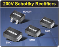 New 200V Schottky rectifiers in space saving surface mount packages