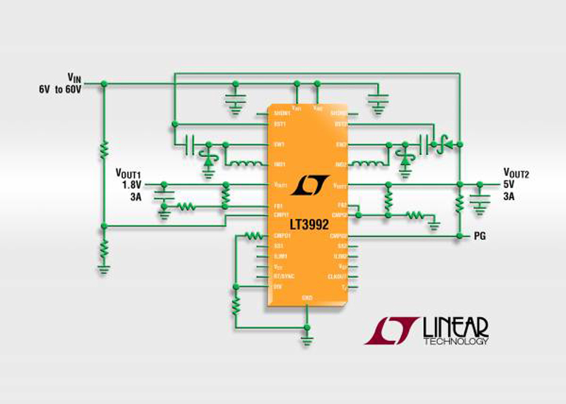 60V Input, Dual 3A(IOUT), 2.25MHz Step-Down DC/DC Converter