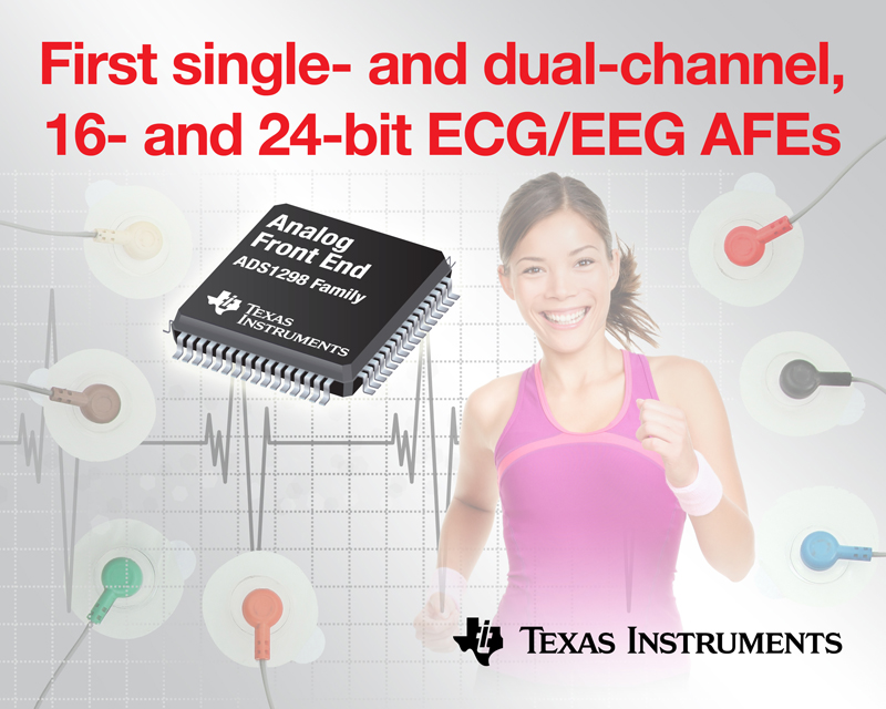 TI introduces industry's first single- and dual-channel, 16- and 24-bit ECG/EEG analog front ends