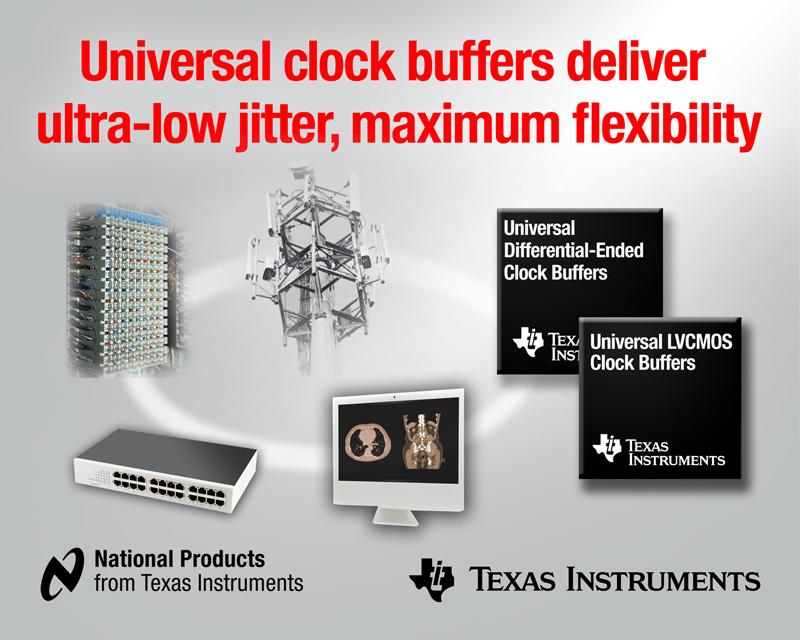 Texas Instruments unveils clock buffers with ultra-low noise floor and additive jitter