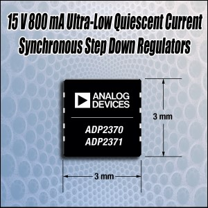 Analog Devices Announces Ultra-Low Quiescent Current 15V 800mA Step Down Synchronous Regulator for Portable Electronics