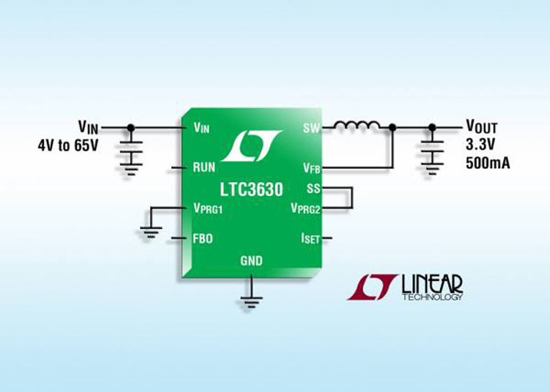 65V, 500mA Synchronous Buck Converter  Delivers 90% Efficiency & Requires Only 12μA Quiescent Current