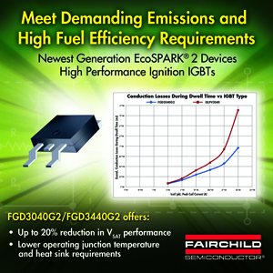 Fairchild Semiconductor's EcoSPARK® 2 Ignition Coil Driver Reduces Power Dissipation, Enhances Performance of Ignition IGBTs