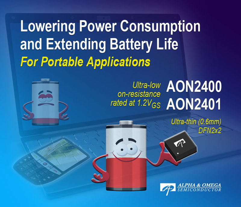 Alpha and Omega Semiconductor's Industry's Best 8V Power MOSFETs Lower Power Consumption and Extend Battery Life