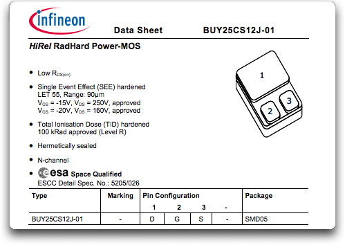 Infineon launches space PowerMOS devices