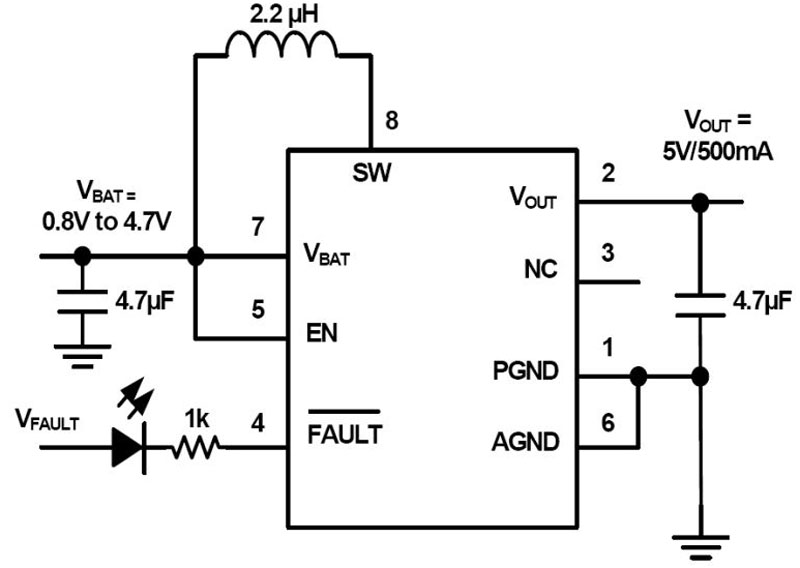 Low Input Voltage and High Efficiency Synchronous Boost Converter with 1.3A Switch