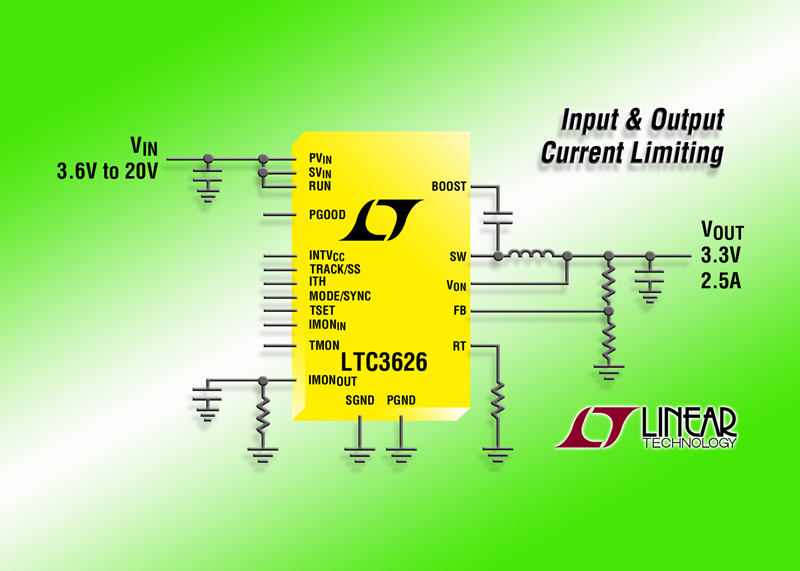 20V, 2.5A (IOUT) Synchronous Step-Down Regulator Features  Input & Output Current Limiting & Current Monitoring