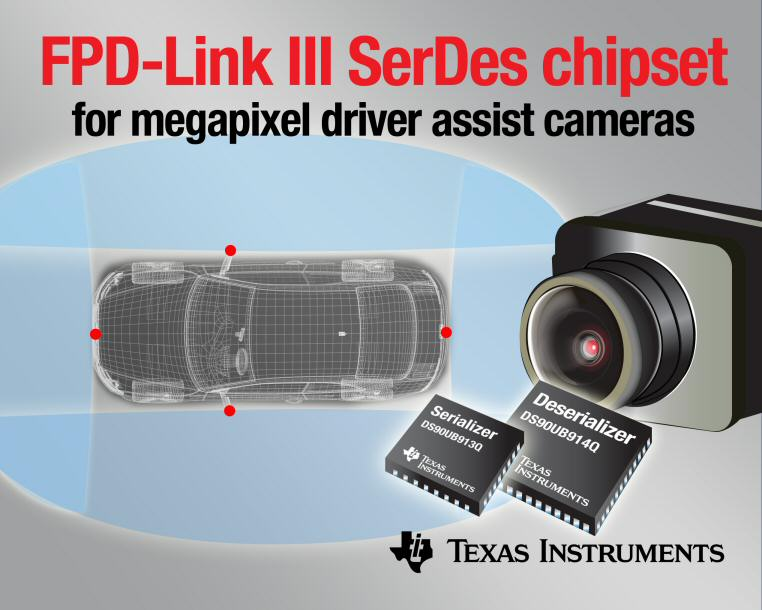 TI FPD-Link III chipset streamlines video and data interface for megapixel driver-assist cameras