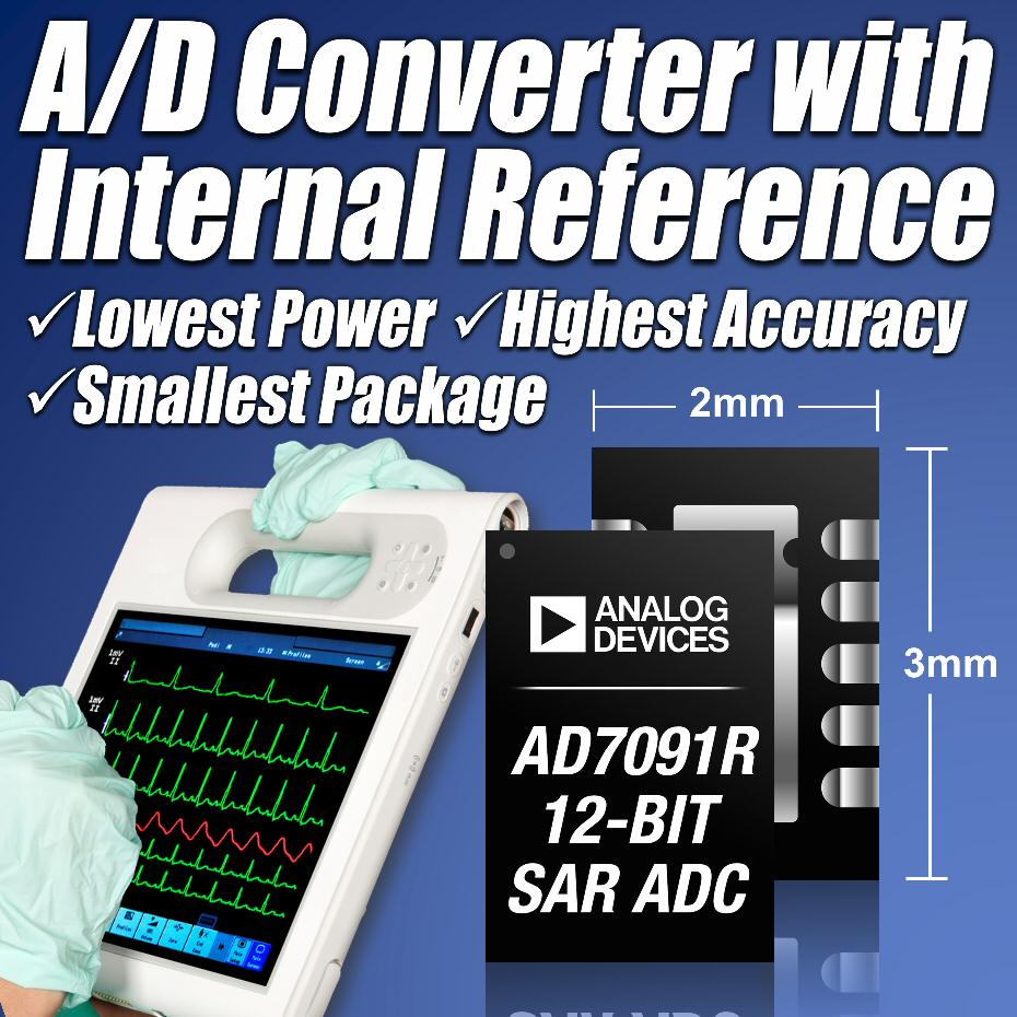 Analog Devices' ADC with internal reference delivers high accuracy with low power in small packages