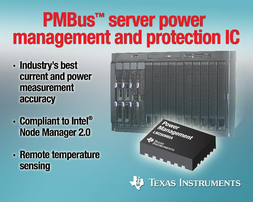 TI's power-management and protection IC delivers accurate monitoring for Intel-Node-Manager-capable platforms
