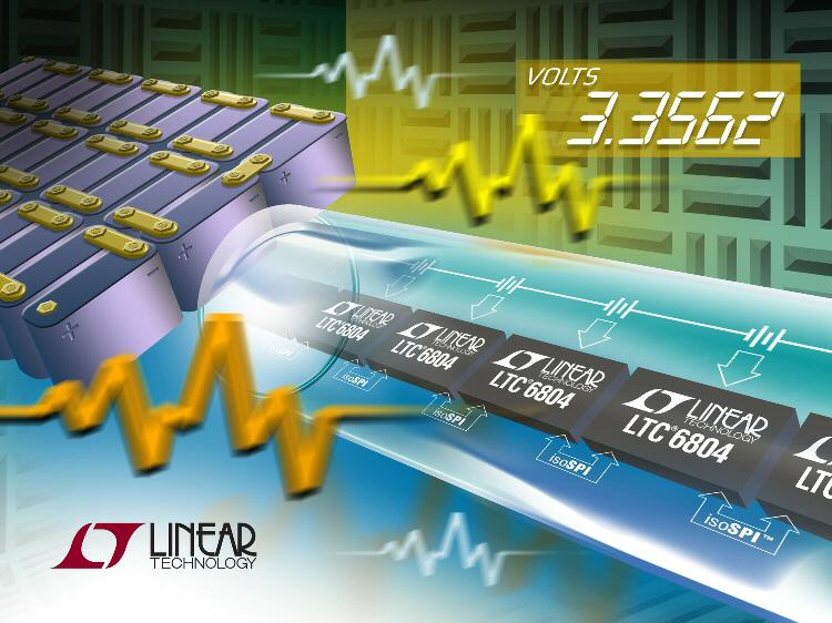 Linear Technology's 0.04%-accurate hybrid/electric battery monitor includes isolated interface
