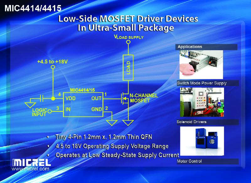 Micrel offers new low-side MOSFET-driver devices in ultra-small four-pin package