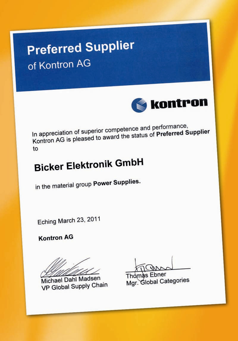 Bicker Elektronik appointed Preferred Supplier