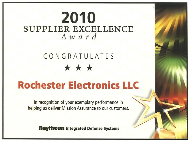 Rochester Electronics Receives Supplier Excellence Award from Raytheon Integrated Defense Systems