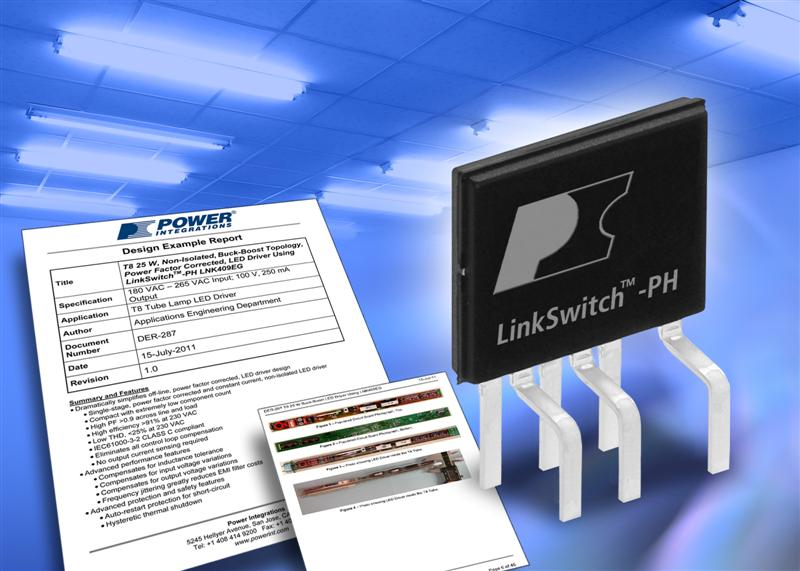 Power Integrations Releases Compact 25-Watt LED Lighting Ballast Reference Design Sized for T8 Tubes