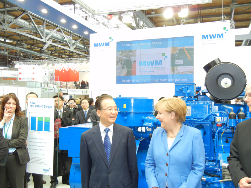Angela Merkel visits MWM at the Hannover Messe 2012