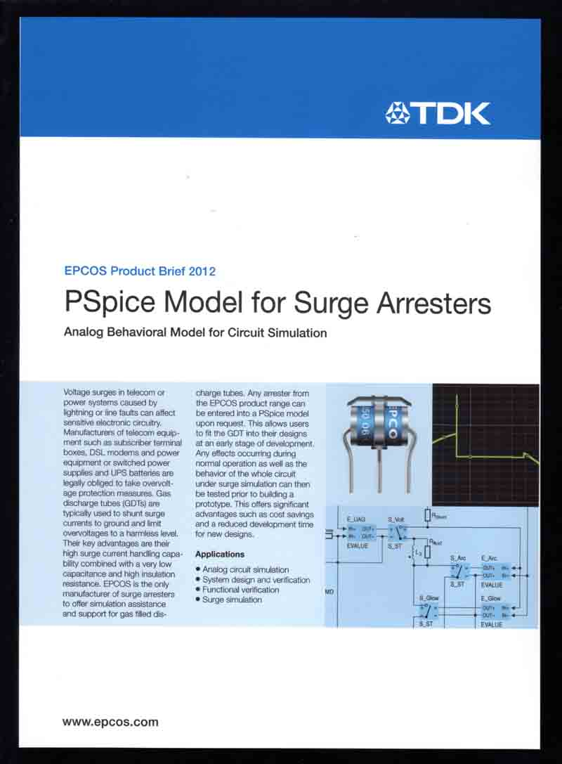 New TDK Brochure Features PSpice Model For EPCOS Surge Arresters