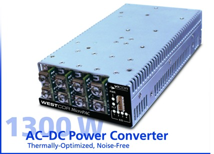 Fanless AC-DC power system delivers 1300 W of continuous power