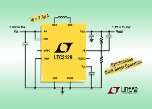 Synchronous buck-boost converter boasts low quiescent current