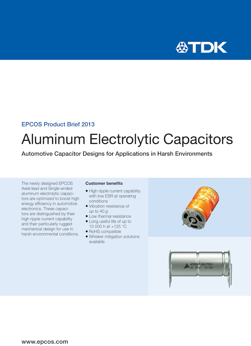 TDK brochure features EPCOS capacitors for harsh automotive environments