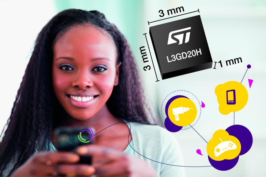 STMicroelectronics' tiny 3-axis gyroscope delivers power, speed, and design-in advantages
