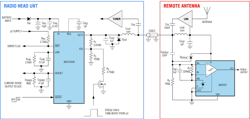 Designing a DiSEqC-antenna phantom power-supply