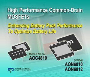 Alpha and Omega Semiconductor launches family of high-performance common-drain MOSFETs