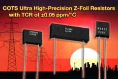 VPG's Z Series ultra-high-precision Z-foil thru-hole resistors available down to 5 Ohms