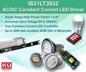ISSI's single-stage high-power factor AC/DC LED Controller targets retrofit LED bulbs