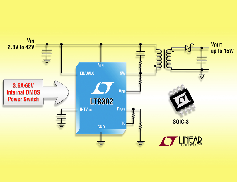 Isolated monolithic flyback regulator delivers up to 15 Watts