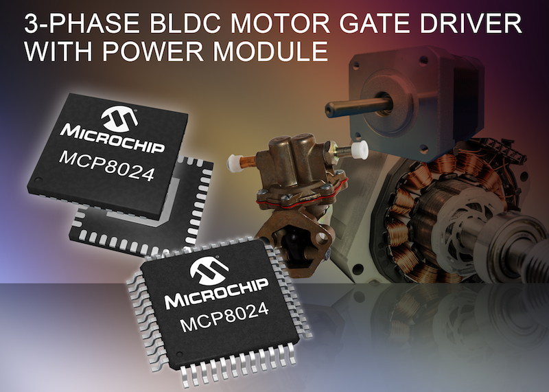 Microchip's three-phase BLDC motor gate driver includes power module