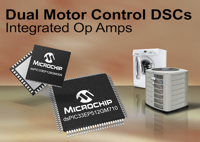 Microchip's dsPIC digital signal controllers enable dual motor control and CAN communication with advanced sensor interfaces