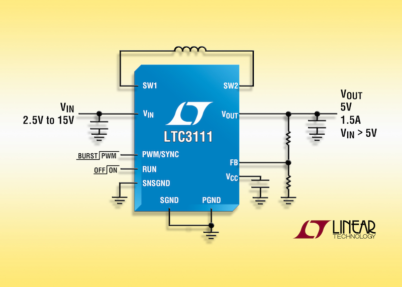 Monolithic synchronous buck/boost DC/DC converter offers 95% efficiency & low-noise operation