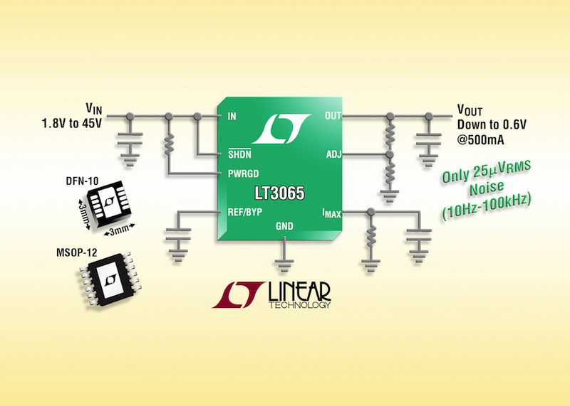 Linear's 45V 500mA LDO offers 25uVRMS noise, programmable current limit & power good